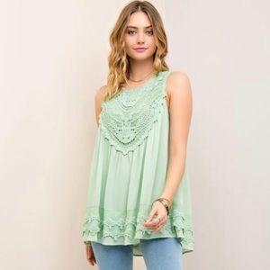 🆕ENTRO Mint Lace Tunic Top
